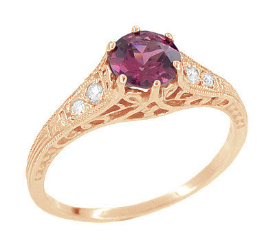 Rose Gold Art Deco Raspberry Rhodolite Garnet and Diamond Filigree Engagement Ring - Item: R158GPG - Image: 3