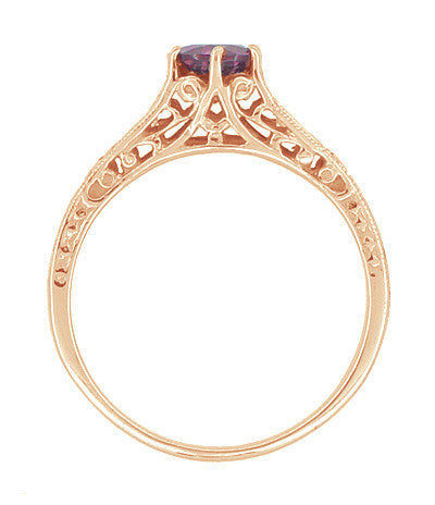Rose Gold Art Deco Raspberry Rhodolite Garnet and Diamond Filigree Engagement Ring - Item: R158GPG - Image: 1