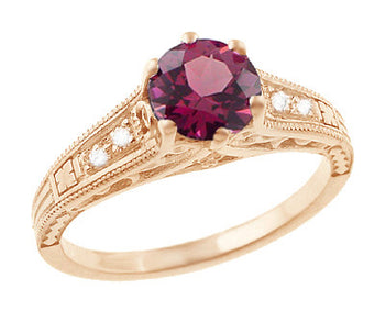 Rose Gold Art Deco Raspberry Rhodolite Garnet and Diamond Filigree Engagement Ring