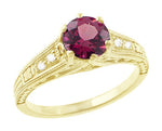 Raspberry Rhodolite Garnet and Diamond Filigree Ring in 14 Karat Yellow Gold