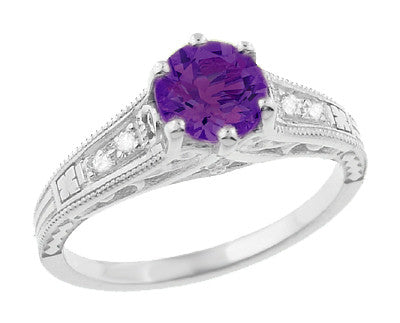 Amethyst and Diamond Filigree Engagement Ring in Platinum