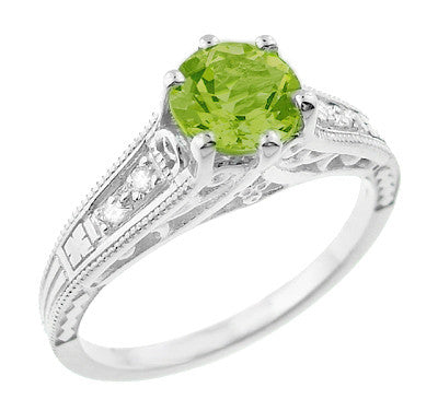 1920s Vintage Filigree Peridot Engagement Ring with Side Diamonds in White Gold - R158PER