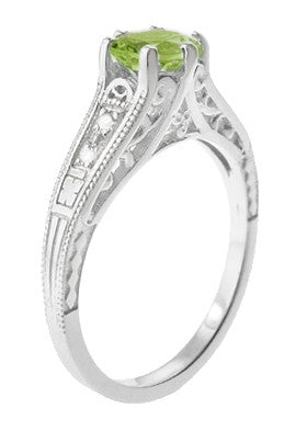Filigree Art Deco Peridot Engagement Ring in Platinum with Diamonds - Item: R158PPER - Image: 2