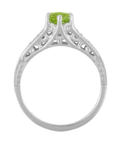 Filigree Art Deco Peridot Engagement Ring in Platinum with Diamonds - Item: R158PPER - Image: 3