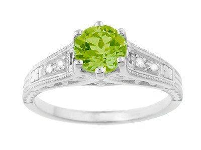 Filigree Art Deco Peridot Engagement Ring in Platinum with Diamonds - Item: R158PPER - Image: 4
