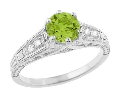 Filigree Art Deco Peridot Engagement Ring in Platinum with Diamonds