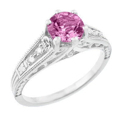 Art Deco Filigree Pink Sapphire and Diamond Vintage Style Engagement Ring in 14 Karat White Gold - Item: R158PS - Image: 1