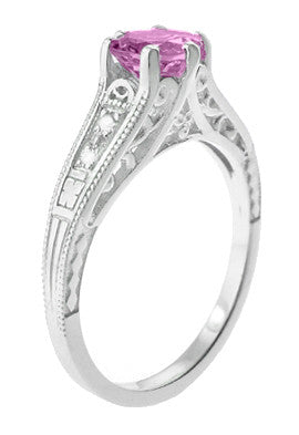 Art Deco Filigree Vintage Style Pink Sapphire and Diamond Platinum Engagement Ring - Item: R158PSP - Image: 2
