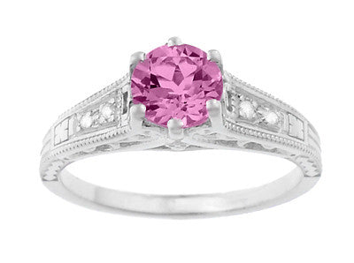 Art Deco Filigree Vintage Style Pink Sapphire and Diamond Platinum Engagement Ring - Item: R158PSP - Image: 4