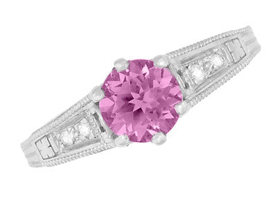 Art Deco Filigree Vintage Style Pink Sapphire and Diamond Platinum Engagement Ring - Item: R158PSP - Image: 5