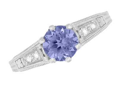 Art Deco Filigree Tanzanite Engagement Ring in Platinum with Diamonds - Item: R158PTA - Image: 5