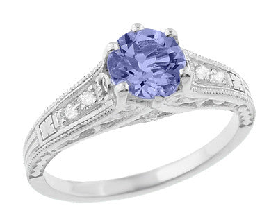 Art Deco Filigree Tanzanite Engagement Ring in Platinum with Diamonds