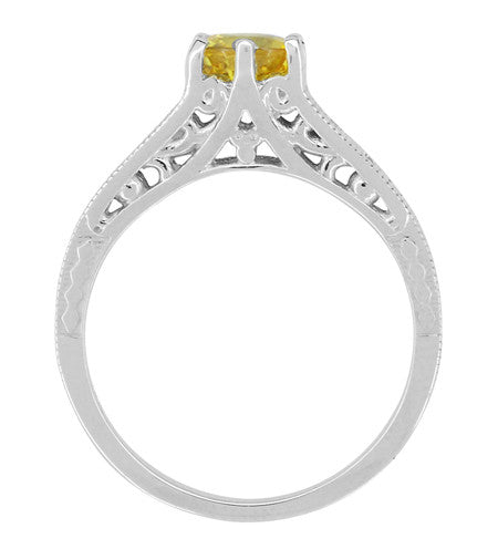 Yellow Sapphire and Diamond Filigree Platinum Engagement Ring - Item: R158PYES - Image: 2