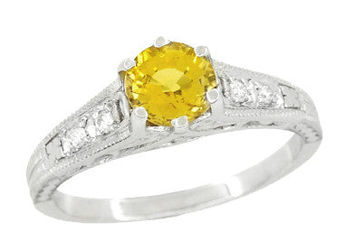 Yellow Sapphire and Diamond Filigree Platinum Engagement Ring - Item: R158PYES - Image: 1