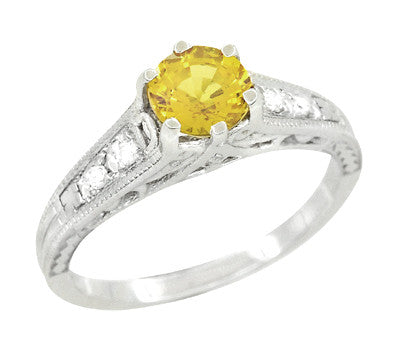 Yellow Sapphire and Diamond Filigree Platinum Engagement Ring