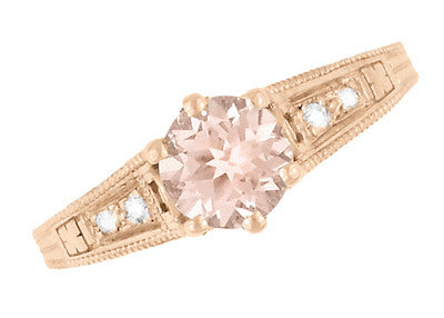 Art Deco Morganite and Diamond Filigree Engagement Ring in 14 Karat Rose ( Pink ) Gold Vintage Design - Item: R158RM - Image: 4