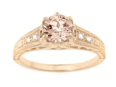 Art Deco Morganite and Diamond Filigree Engagement Ring in 14 Karat Rose ( Pink ) Gold Vintage Design - Item: R158RM - Image: 1