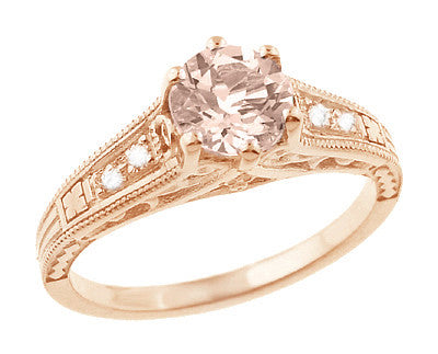Art Deco Morganite and Diamond Filigree Engagement Ring in 14 Karat Rose ( Pink ) Gold Vintage Design