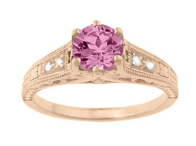 Art Deco Pink Sapphire and Diamonds Filigree Engagement Ring in 14 Karat Pink ( Rose ) Gold - Item: R158RPS - Image: 4