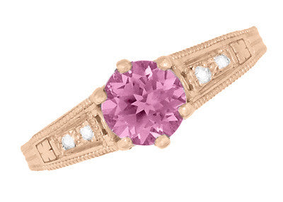 Art Deco Pink Sapphire and Diamonds Filigree Engagement Ring in 14 Karat Pink ( Rose ) Gold - Item: R158RPS - Image: 5
