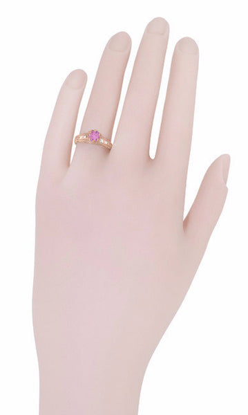 Art Deco Pink Sapphire and Diamonds Filigree Engagement Ring in 14 Karat Pink ( Rose ) Gold - Item: R158RPS - Image: 6