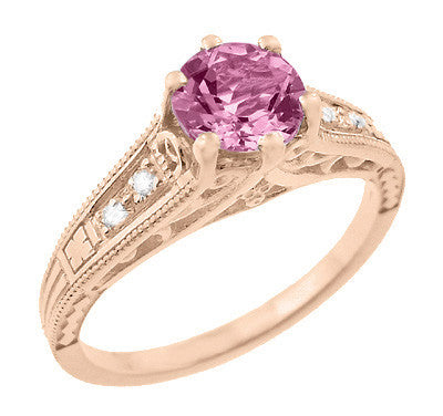 Art Deco Pink Sapphire and Diamonds Filigree Engagement Ring in 14 Karat Pink ( Rose ) Gold - Item: R158RPS - Image: 1