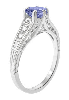 Art Deco Filigree Tanzanite and Diamond Engagement Ring in 14 Karat White Gold - Item: R158TA - Image: 2