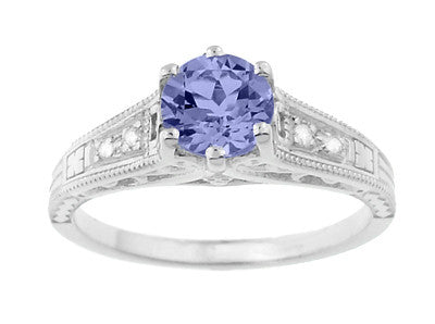 Art Deco Filigree Tanzanite and Diamond Engagement Ring in 14 Karat White Gold - Item: R158TA - Image: 4