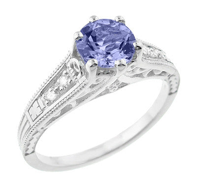 Art Deco Filigree Tanzanite and Diamond Engagement Ring in 14 Karat White Gold - Item: R158TA - Image: 1
