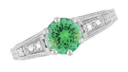 Antique Deco Style Filigree Spearmint Green Tourmaline and Diamond Engagement Ring in 14 Karat White Gold - Item: R158TO - Image: 3