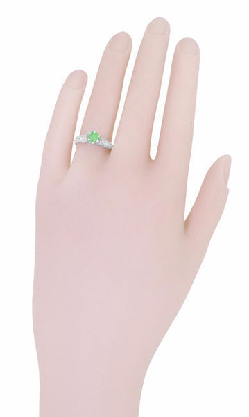 Antique Deco Style Filigree Spearmint Green Tourmaline and Diamond Engagement Ring in 14 Karat White Gold - Item: R158TO - Image: 4