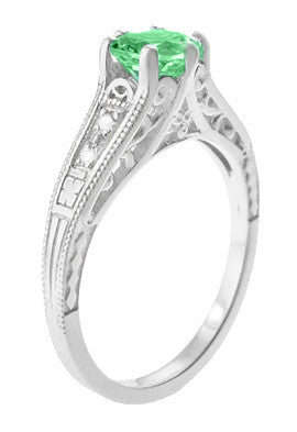 Antique Deco Style Filigree Spearmint Green Tourmaline and Diamond Engagement Ring in 14 Karat White Gold - Item: R158TO - Image: 1