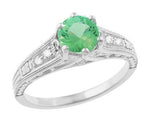 Antique Deco Style Filigree Spearmint Green Tourmaline and Diamond Engagement Ring in 14 Karat White Gold