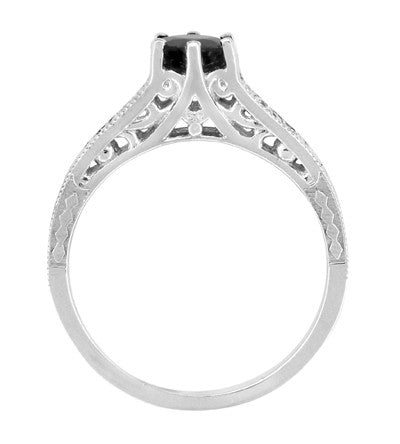 Art Deco Filigree 1.25 Carat Black Diamond Engagement Ring in 14 Karat White Gold - Item: R158WBD - Image: 2