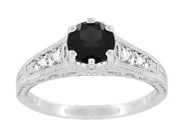 Art Deco Filigree 1.25 Carat Black Diamond Engagement Ring in 14 Karat White Gold - Item: R158WBD - Image: 3