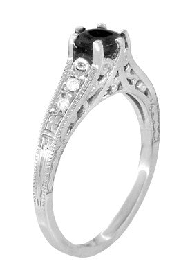 Art Deco Filigree 1.25 Carat Black Diamond Engagement Ring in 14 Karat White Gold - Item: R158WBD - Image: 1
