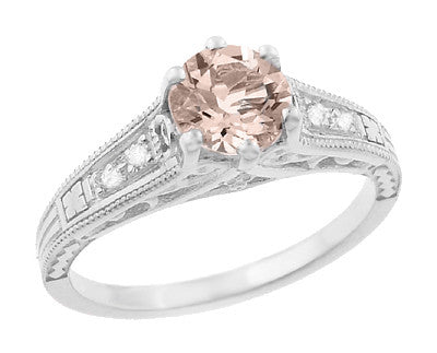 Art Deco Antique Style Morganite and Diamond Filigree Engagement Ring in 14 Karat White Gold