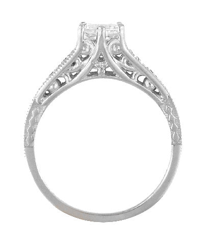 Art Deco White Sapphire Scroll Filigree Engagement Ring in 14 Karat White Gold - Item: R158WS - Image: 2