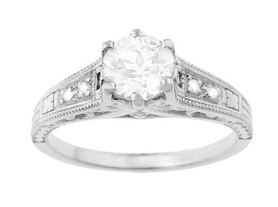 Art Deco White Sapphire Scroll Filigree Engagement Ring in 14 Karat White Gold - Item: R158WS - Image: 3