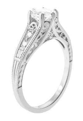Art Deco White Sapphire Scroll Filigree Engagement Ring in 14 Karat White Gold - Item: R158WS - Image: 1