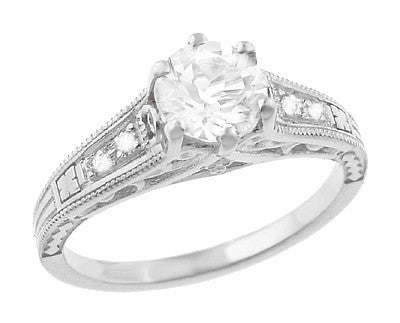 Art Deco White Sapphire Scroll Filigree Engagement Ring in 14 Karat White Gold