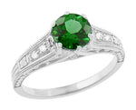 Art Deco Filigree Tsavorite Garnet Engagement Ring in 14 Karat White Gold