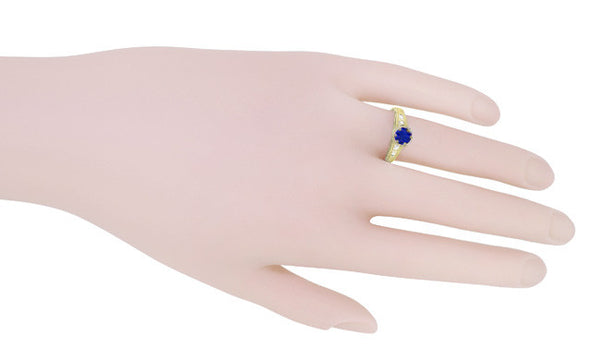 Sapphire and Diamond Filigree Engagement Ring in 14 Karat Yellow Gold - Item: R158Y - Image: 6