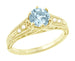 Art Deco Antique Style Aquamarine and Diamond Filigree Engagement Ring in 14 Karat Yellow Gold