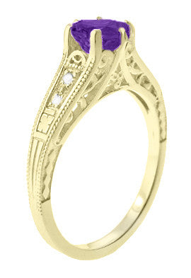 Amethyst and Diamond Filigree Engagement Ring in 14 Karat Yellow Gold - Item: R158YAM - Image: 2