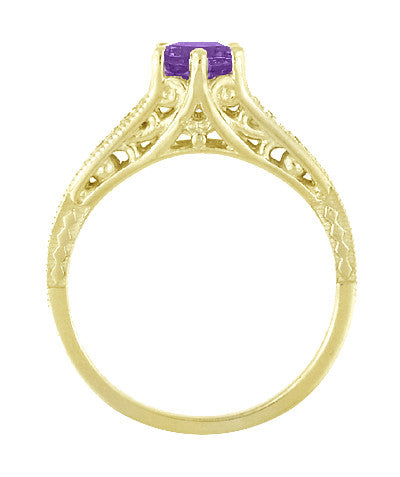 Amethyst and Diamond Filigree Engagement Ring in 14 Karat Yellow Gold - Item: R158YAM - Image: 3