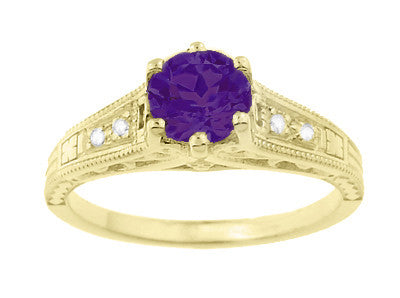 Amethyst and Diamond Filigree Engagement Ring in 14 Karat Yellow Gold - Item: R158YAM - Image: 4