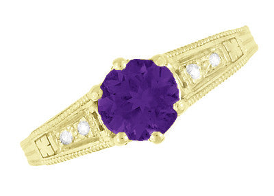 Amethyst and Diamond Filigree Engagement Ring in 14 Karat Yellow Gold - Item: R158YAM - Image: 5