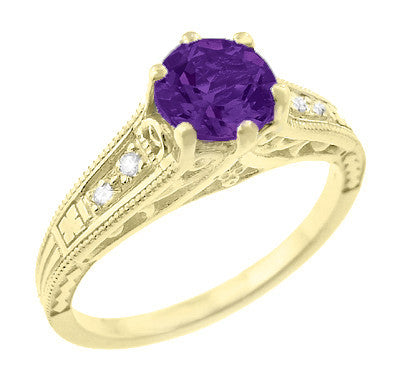 Amethyst and Diamond Filigree Engagement Ring in 14 Karat Yellow Gold - Item: R158YAM - Image: 1
