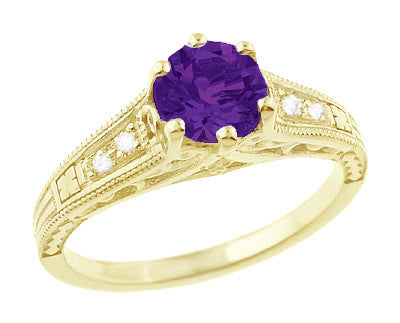 Amethyst and Diamond Filigree Engagement Ring in 14 Karat Yellow Gold